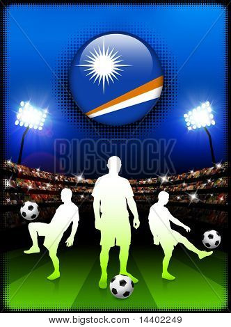 Marshall Islands Flag Button with Soccer Match in Stadium Original Illustration