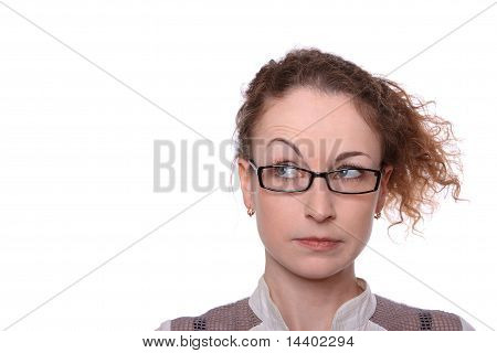 Young woman surprised sceptic look