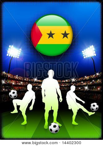 Sao Tome Flag Button with Soccer Match in Stadium Original Illustration