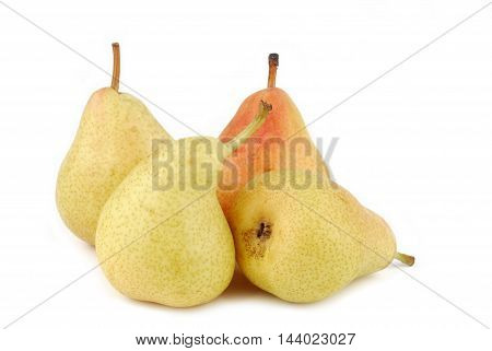 closeup of the organic pears isolated on white