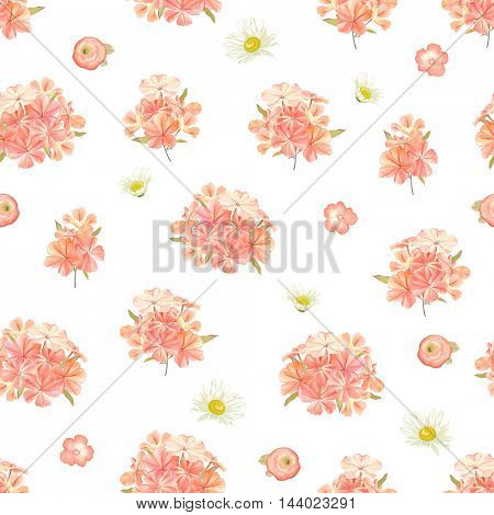 Seamless background with flowers phlox, chamomiles and little ranunculus. Vector floral illustration in rustic style.