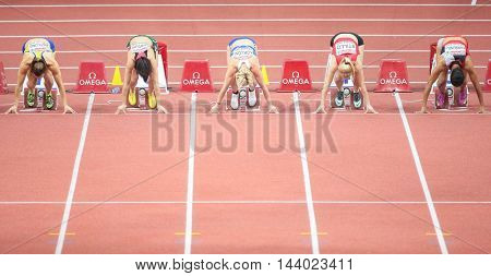 PRAGUE, CZECH REPUBLIC - MARCH 7, 2015: Yeoryia Kokloni (#621 Greece) competes in the women's 60m event of the European Athletics Indoor Championship.