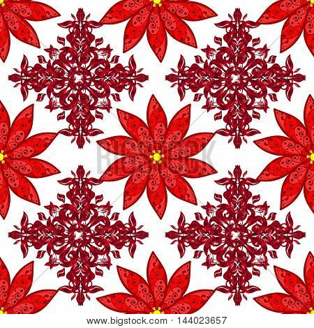Red pattern texture on white background repeating crochet lace ornament seamless vector pattern