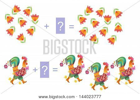 Educational game for children. Examples with cute colorful roosters and flowers. Cartoon illustration of mathematical addition. Vector image.