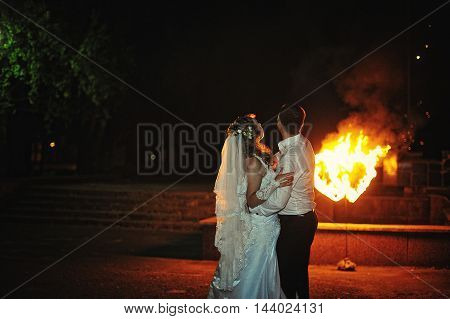 wedding couple background two fire heart at wedding