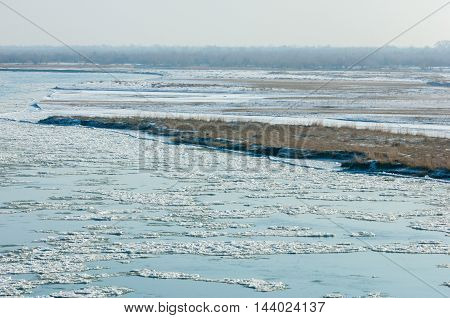 First Frost Formation Of Ice On The River. Ili Kazakhstan. Kapchagai Bakanas