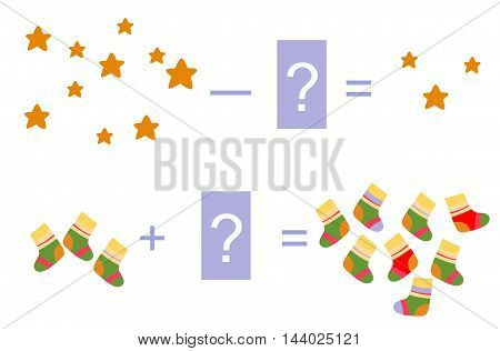 Educational game for children. Cartoon illustration of mathematical addition and subtraction. Vector image. Examples with cute colorful socks and stars.
