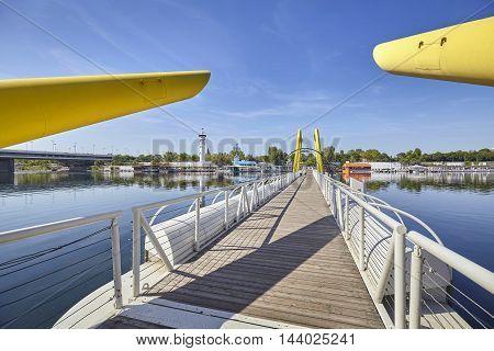 Pontoon Bridge Across New Danube In Vienna, Austria