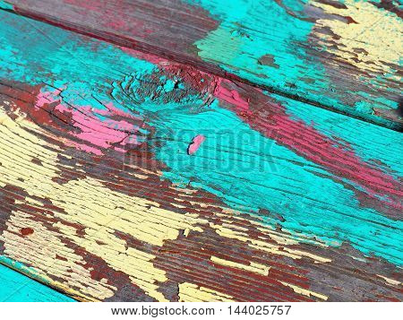 Brightly Painted Peeling Wood Table Texture Background