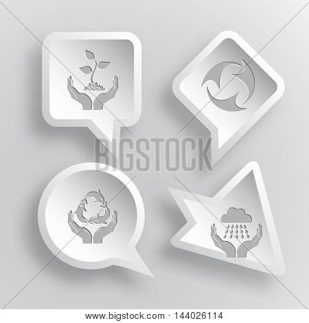 4 images: plant in hands, recycle symbol, protection sea life, weather in hands. Ecology set. Paper stickers. Vector illustration icons.