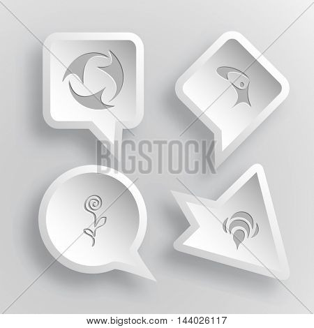 4 images: recycle symbol, little man, flower, bee. Abstract set. Paper stickers. Vector illustration icons.