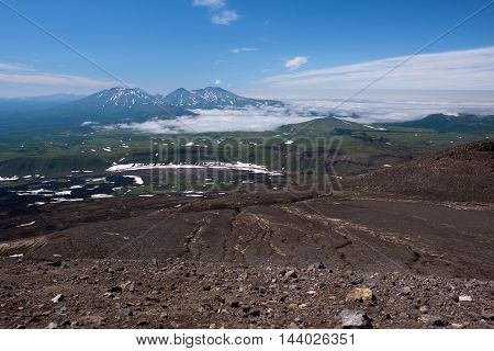 Panoramic view on the valley below Gorely Volcano, Kamchatka, Russia