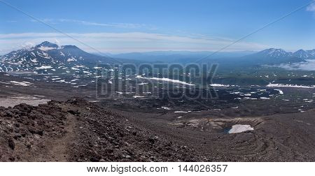 Panoramic view on Mutnovsky Volcano and the valley from Gorely Volcano, Kamchatka, Russia