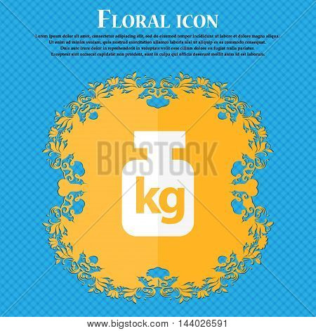 Weight Icon. Floral Flat Design On A Blue Abstract Background With Place For Your Text. Vector