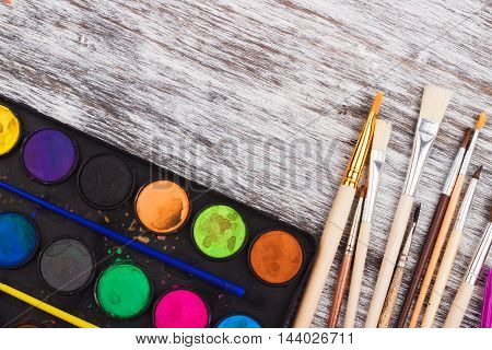 Palette Of Watercolor With Set Of Paintbrushes