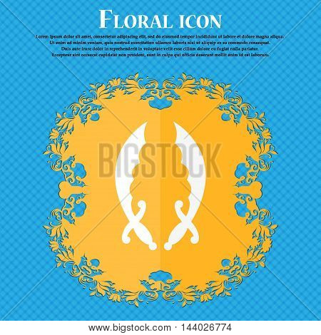 Saber Icon. Floral Flat Design On A Blue Abstract Background With Place For Your Text. Vector