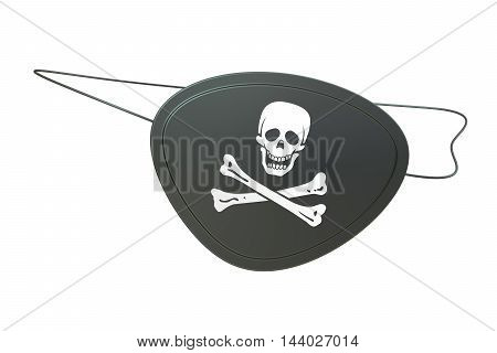 Black leather pirate eye patch 3D rendering isolated on white background