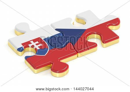 Czech Republic and Slovakia puzzles from flags 3D rendering
