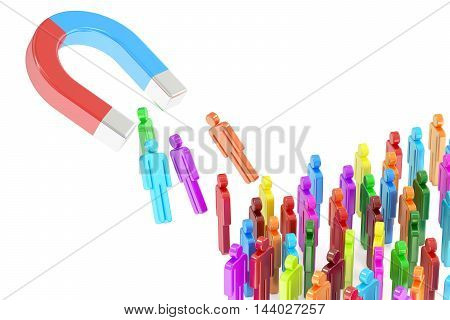 Magnet attracting people business concept. 3D rendering isolated on white background