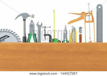Set of tools 3D rendering isolated on white background