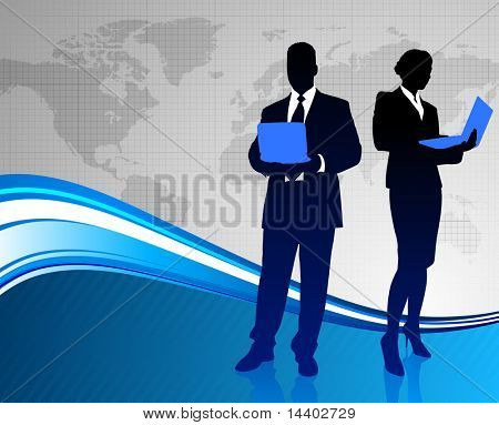 Business Couple on Abstract World Map Background Original Illustration
