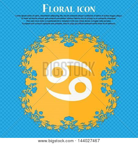 Zodiac Cancer Icon. Floral Flat Design On A Blue Abstract Background With Place For Your Text. Vecto