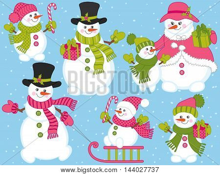 Vector Christmas snowmen set with sledge candy sticks and gift boxes