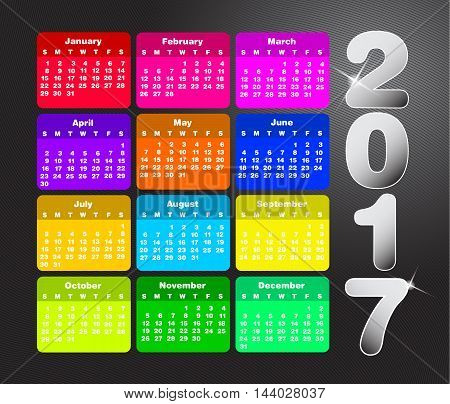 Colorful calendar for 2017. Week starts on sunday