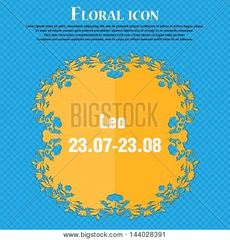 Leo Zodiac Icon. Floral Flat Design On A Blue Abstract Background With Place For Your Text. Vector