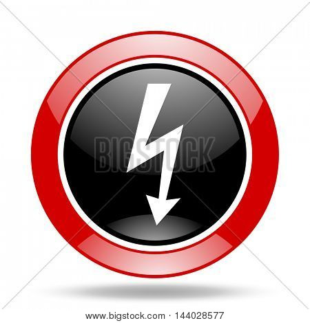 bolt round glossy red and black web icon