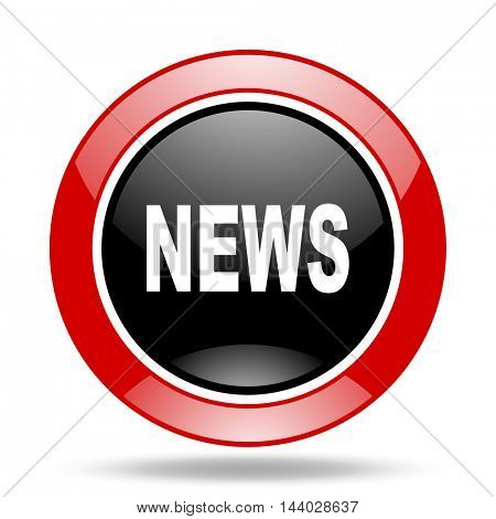 news round glossy red and black web icon