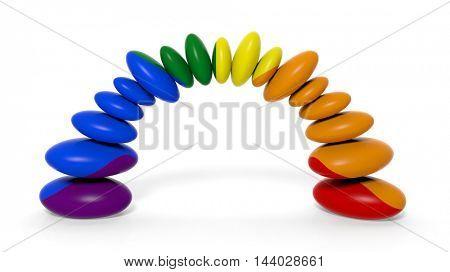 3d rendering zen stones in gay flag colors