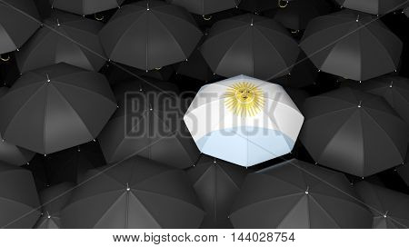 3D rendering top view of black umbrella background with Argentian one over them.