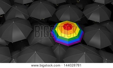 3d rendering umbrella with gay flag in black umbrellas background