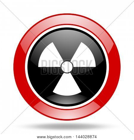 radiation round glossy red and black web icon