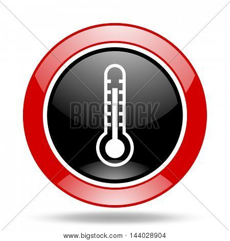 thermometer round glossy red and black web icon