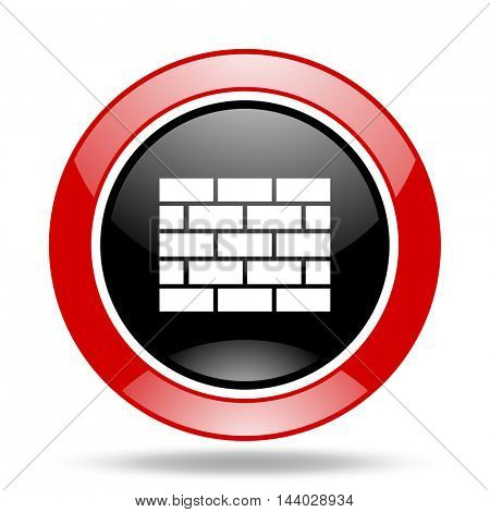 firewall round glossy red and black web icon