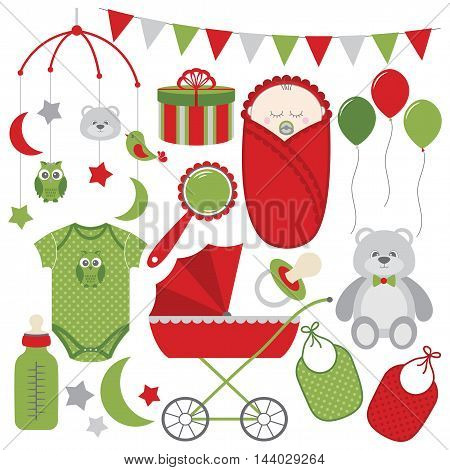 Red and green Christmas baby vector set