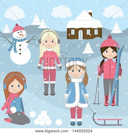 Vector Winter girls with sledge Christmas trees snowman and snow