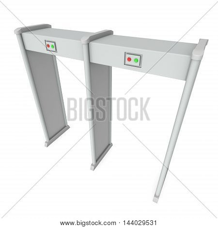 Safe area double security gates with metal detectors. Metal detector scanner. 3D render illustration isolated on white. Walk through detector concept.