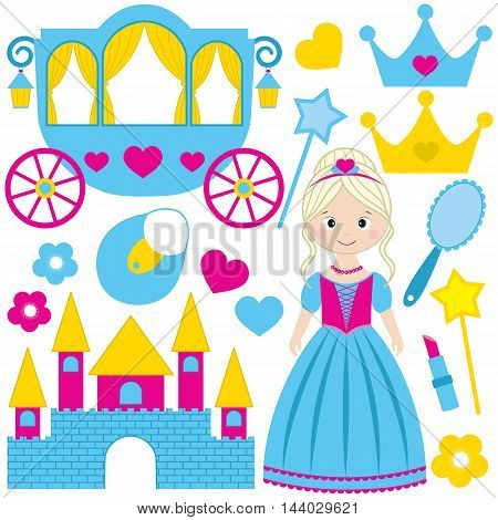 Vector blue princess set with castle tiara hearts mirror and crowns