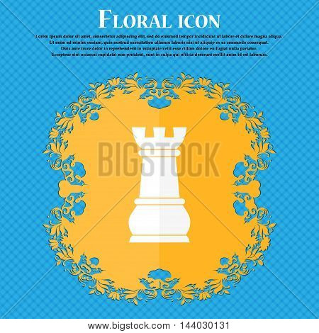 Chess Rook Icon. Floral Flat Design On A Blue Abstract Background With Place For Your Text. Vector
