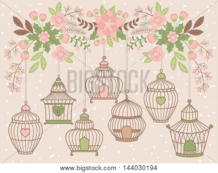 Vector Christmas flowers with bird cages, flowers, berries and leaves
