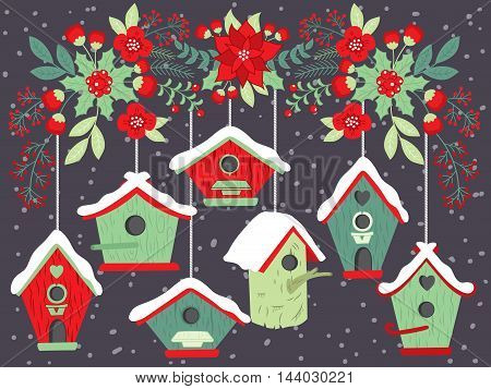 Vector Christmas birdhouses with poinsettia, holly and berries