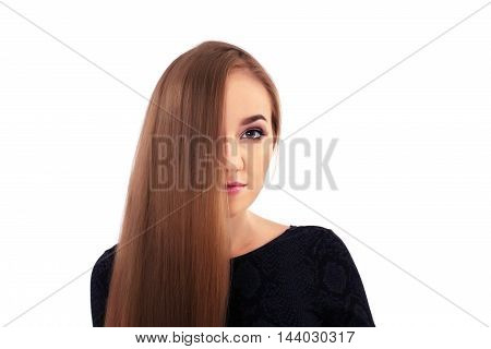 girl model looks with long shiny hair
