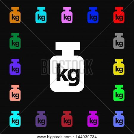 Weight Icon Sign. Lots Of Colorful Symbols For Your Design. Vector