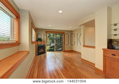 Empty Living Room Interior With Corner Fireplace