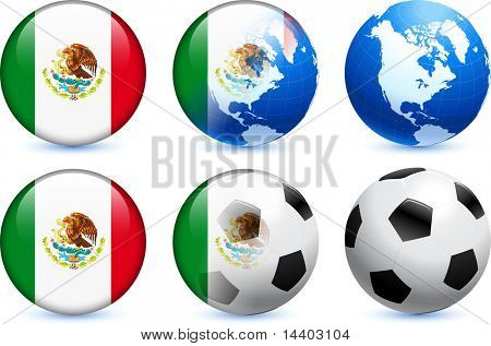 Mexico Flag Button with Global Soccer Event Original Illustration