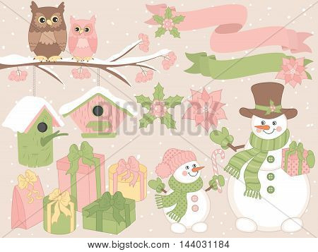 Vector Christmas set with snowmen, owls, gift boxes and ribbons