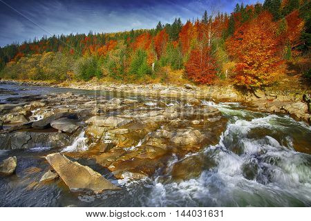 Mountain fast flowing river stream of water in the rocks with blue sky at autumn time. Colorfull foliage